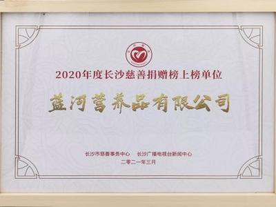 蓝河助力慈善公益,荣登2020年度「长沙慈善榜」