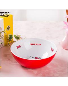 五和纯密胺餐具 Hello Kitty 凯蒂猫双色碗、圆饭碗